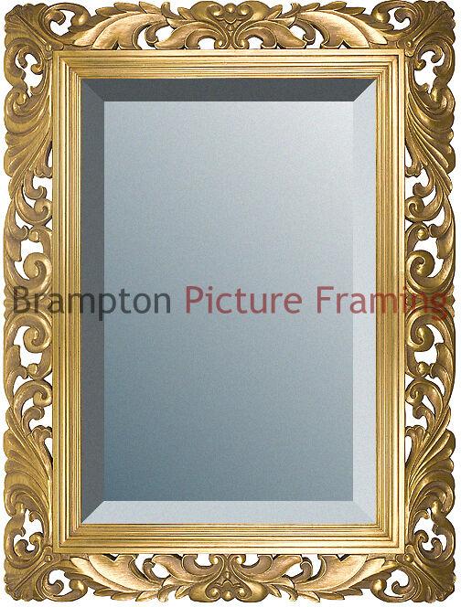 Ornate gold framed mirror bevelled vintage antique for Small gold framed mirrors